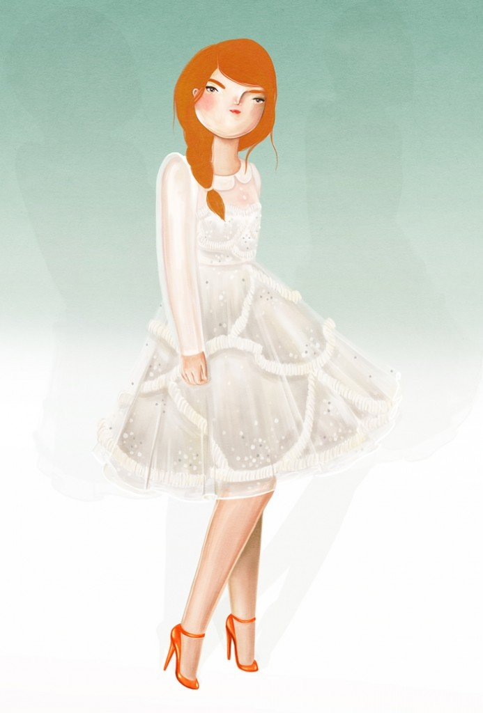 dessin mariee robe courte