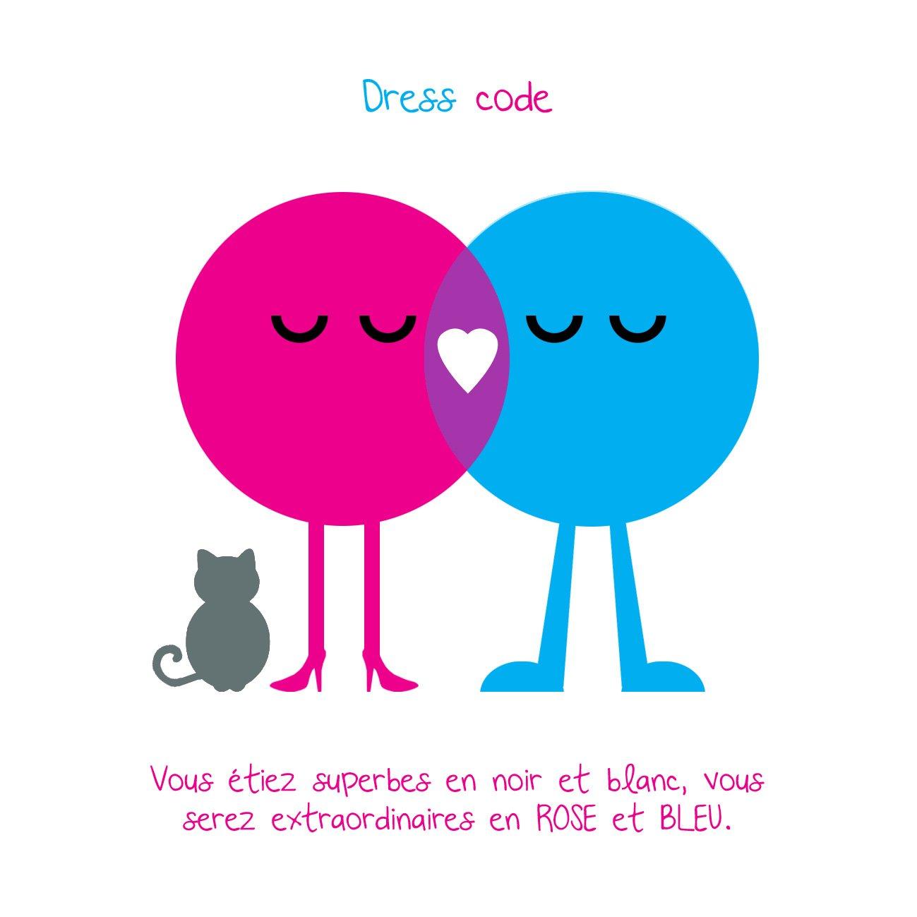 invitation mariage rose et bleu