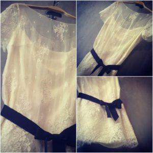 robe de mariee courte ceinture noire