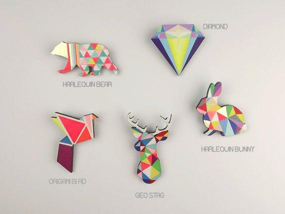 broches neon geometrique animaux