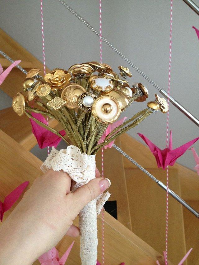 créér un bouquet de boutons pour mariage