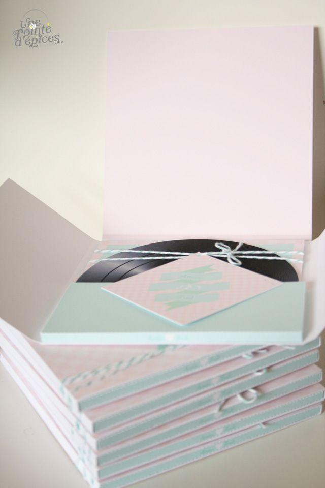 faire part mariage vinyle original coffret mint rose