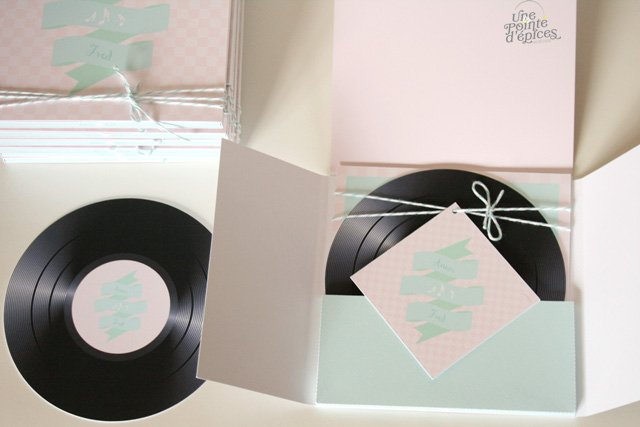 un faire part de mariage vinyle en mint et rose with a love like that blog lifestyle love. Black Bedroom Furniture Sets. Home Design Ideas