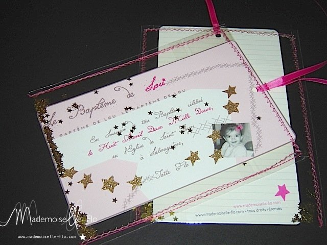 carte bapteme mademoiselle flo