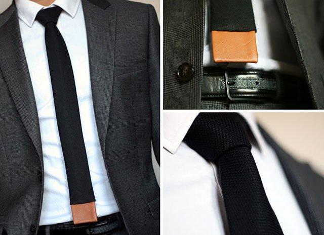 cravatte fine noire maille carre
