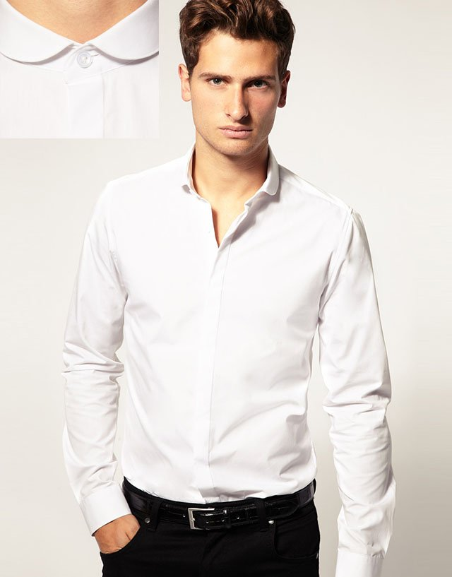 chemise col claudine homme