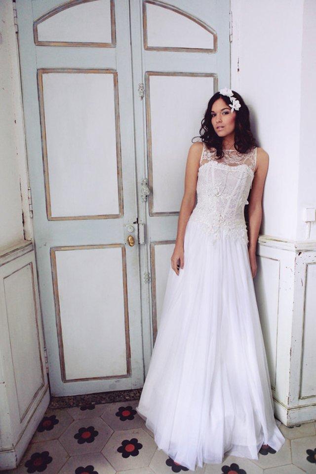 robe de mariee lilly de forme princess en dentelle et organza nice