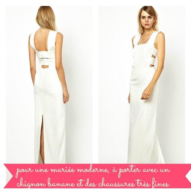 Robe blanche fendue pas cher