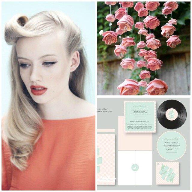 inspiration mariage mint et rose poudré papeterie déco et coiffure