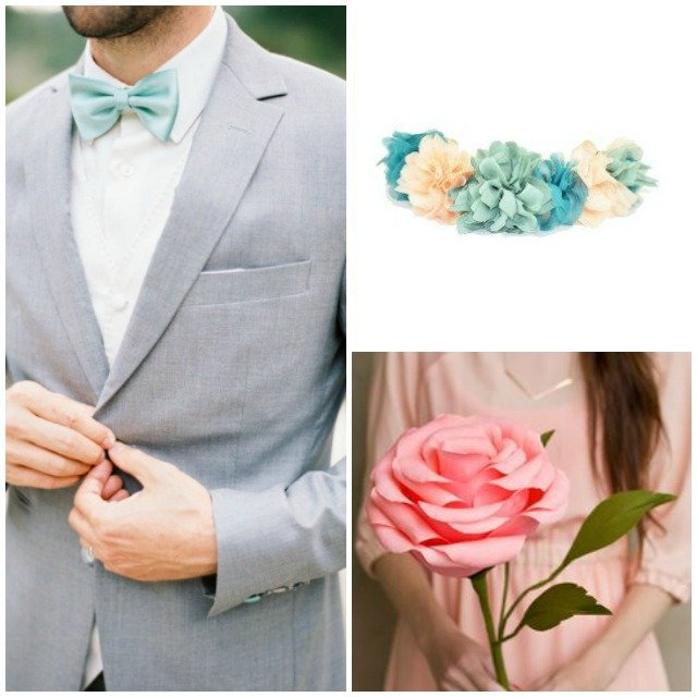 costume gris mariage mint et rose poudré bouquet