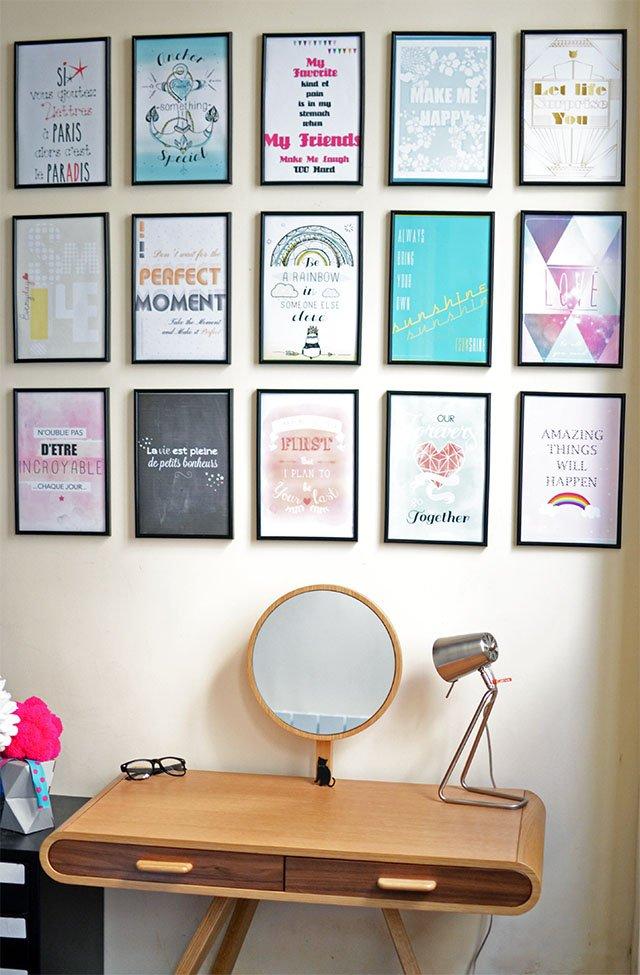 décoration mur de cadres -citation sur la vie Hi Love!