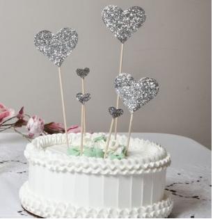 cake topper coeur à paillettes - modern confettis