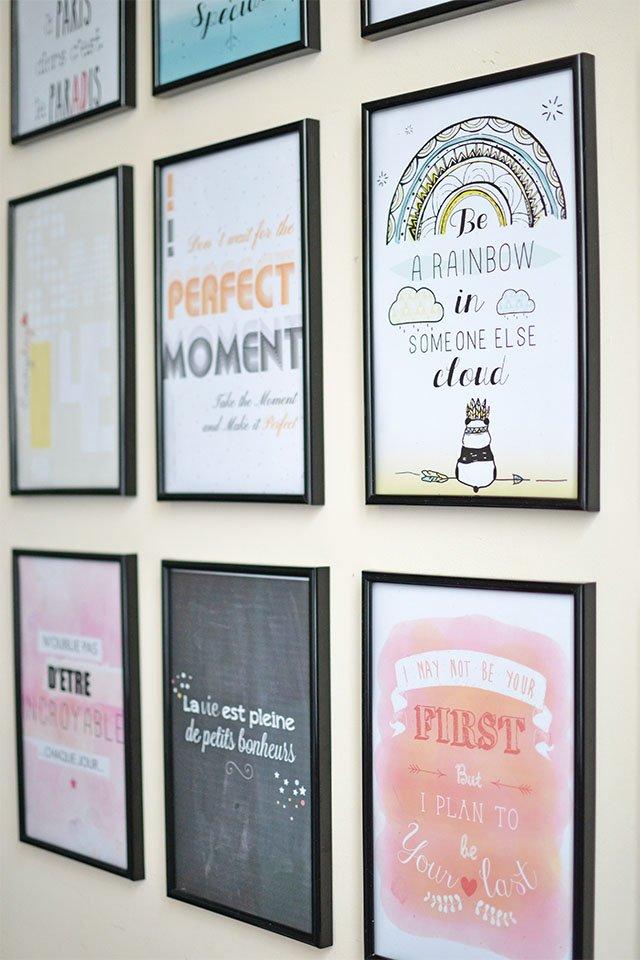 mur de cadres avec citation sur la vie Hi love!
