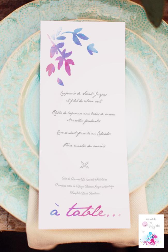 un joli design pour vos menus de mariage par la belette rose with a love like that blog mariage. Black Bedroom Furniture Sets. Home Design Ideas