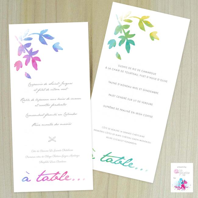 un joli design pour vos menus de mariage par La belette rose
