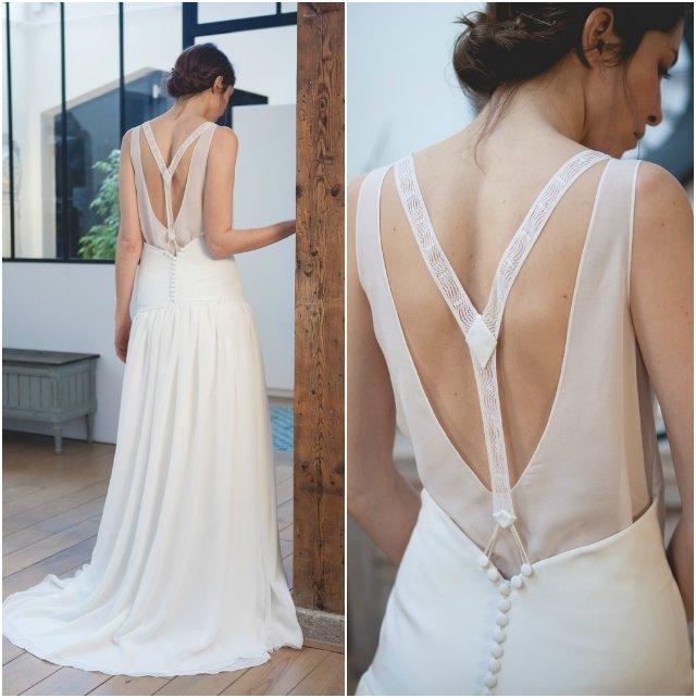 Robe de mariée style Gatsby par Mathilde Marie, créatric de robe sur mesure / + sur withalovelikethat.fr