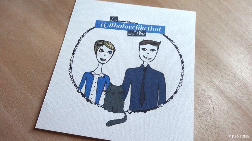 Illustration couple personnalisée par Rouge Pompon / + d'infos sur withalovelikethat.fr