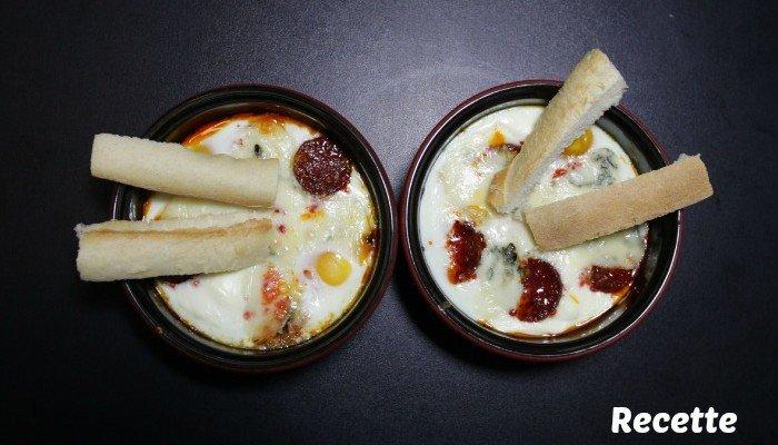 Recette facile en amoureux : Oeuf cocotte chorizo gorgonzola