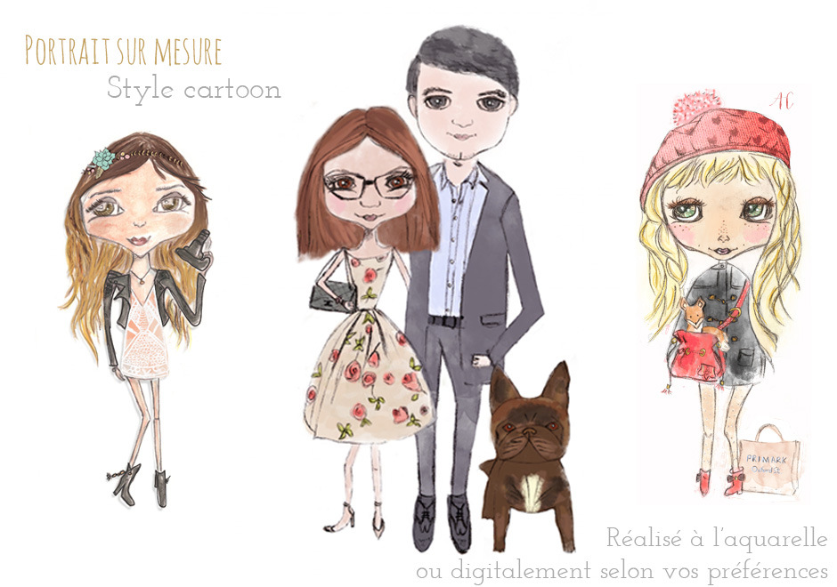 portrait personnalisé illustré par Happy Chantilly / publié sur le blog withalovelikethat.fr
