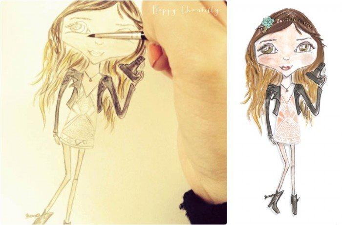 Illustration personnalisée par Happy Chantilly / publié sur le blog withalovelikethat.fr