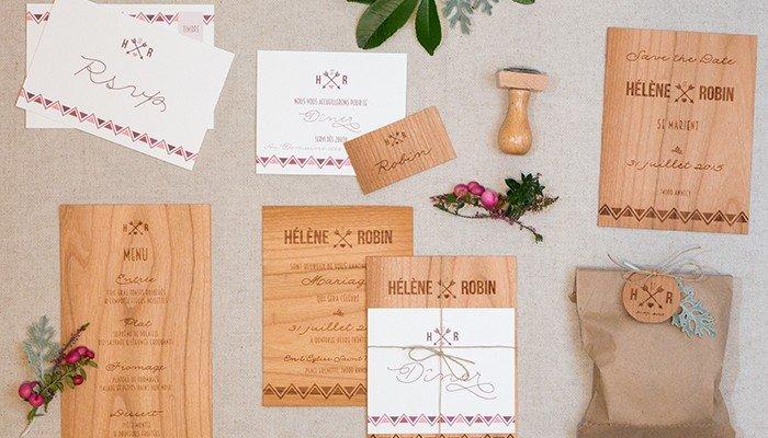 Papeterie de mariage … en bois! *concours*