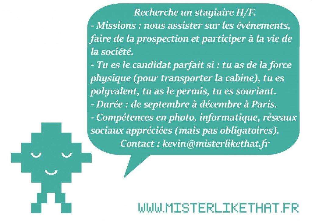 We want you! recherche stagiaire pour la team like that