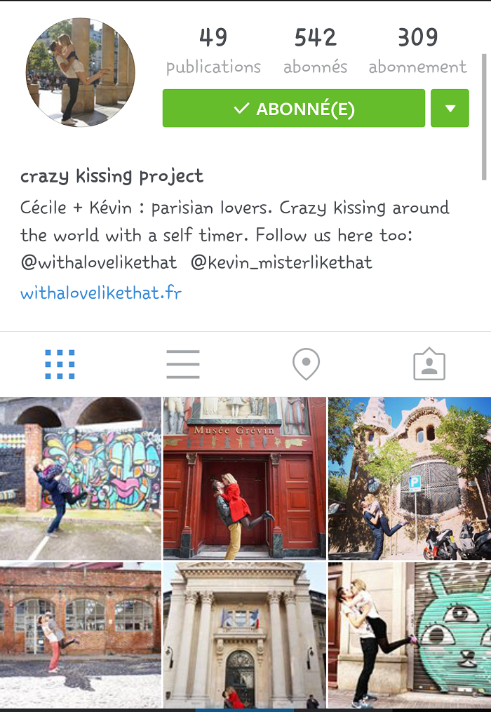 Mes comptes instagram préférés : crazy kissing project / retrouvez tous nos comptes préférés sur withalovelikethat.fr
